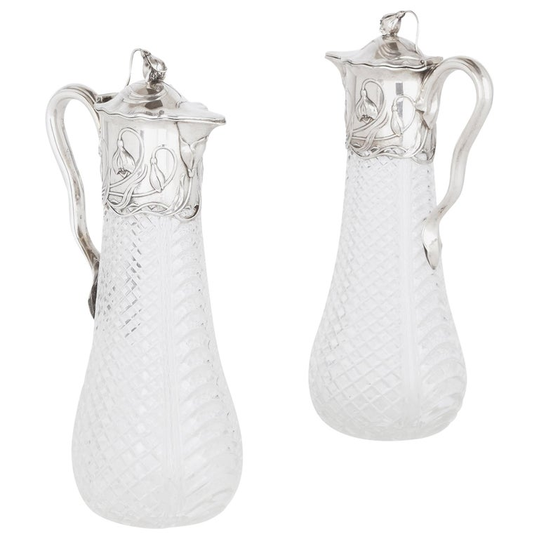 Two Art Nouveau Silver and Cut Glass Claret Jugs by Wilhelm Binder For Sale