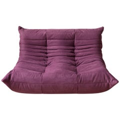 Togo 2-Seat Sofa in Aubergine Microfibre by Michel Ducaroy for Ligne Roset