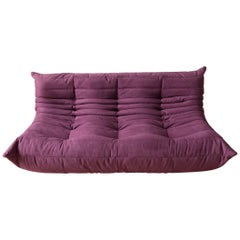Togo 3-Seat Sofa in Aubergine Microfibre by Michel Ducaroy for Ligne Roset