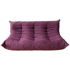 Togo 3-Seat Sofa in Aubergine Microfibre by Michel Ducaroy for Ligne Roset