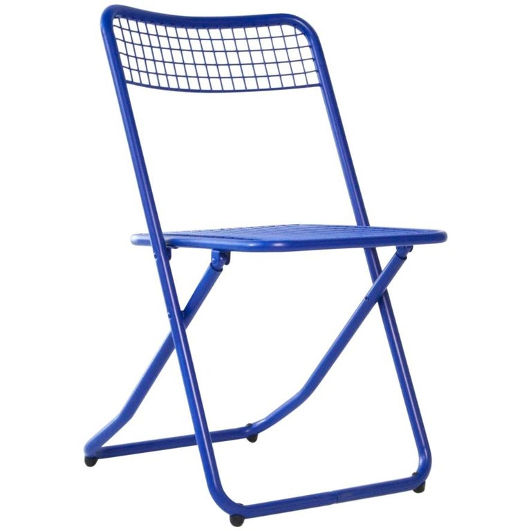 New Folding Iron Chair Blue 5002 by Houtique  For Sale