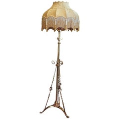 Late 19th Century Arts & Crafts Brass Standard Lamp