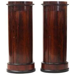 Pair of Oval Late Empire Pedestal Cabinets, Copenhagen, 1820-1830
