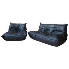 Two-Piece Leather Togo Set, Design by Michel Ducaroy for Ligne Roset in France