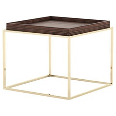 Square Gold Legs Side Table with Matte Wooden Top