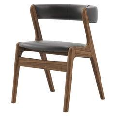 Smart Walnut Chair with Black Genuine Leather