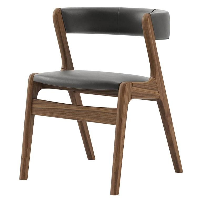 Smart Walnut Chair with Black Genuine Leather For Sale