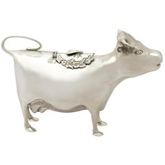Elizabeth II English Sterling Silver Cow Creamer