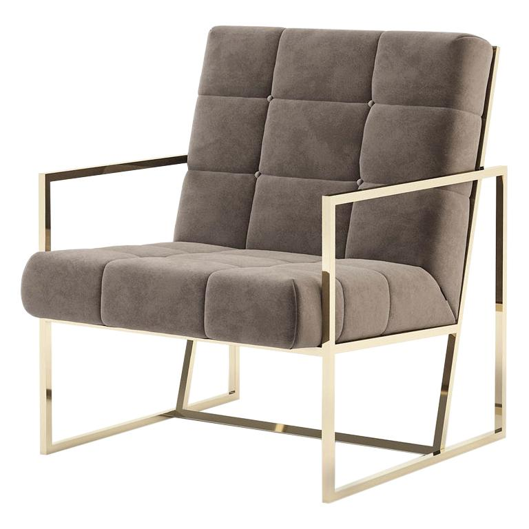Matrix Fabric Armchair with Taupe Fabric For Sale