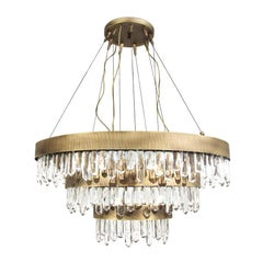Crystal Sticks Triple Chandelier in Antique Brushed Brass