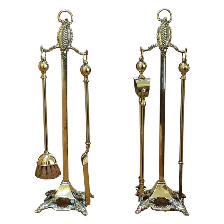 Pair of Edwardian Brass Fire Side Companions For Sale