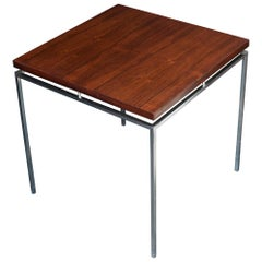 1960s Knud Joos Rosewood Steel Pedestal Table Jason Mobler, Midcentury