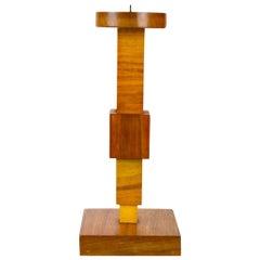 Cubistic Wooden Candleholder in Avant Garde Design, 1920s