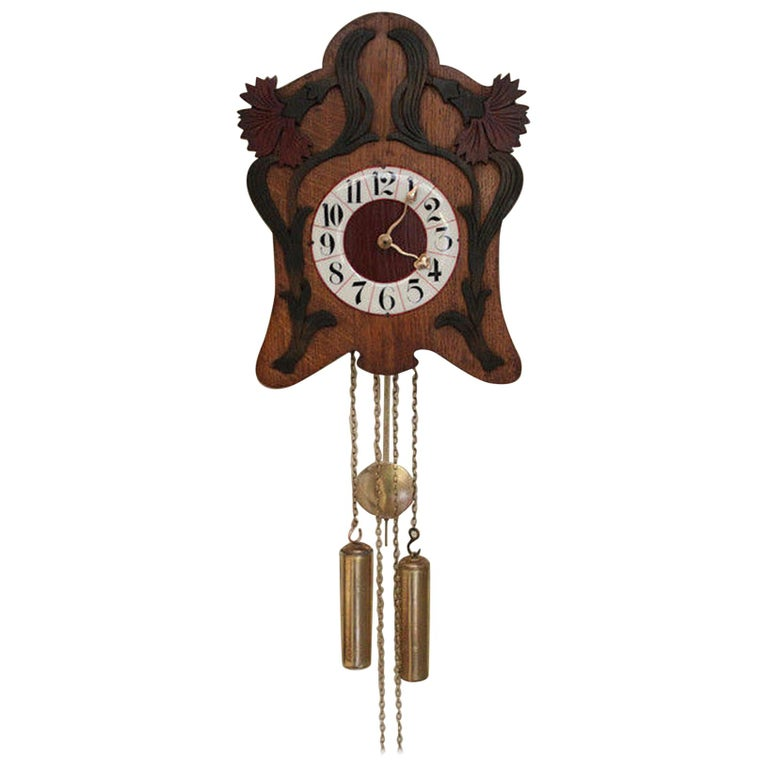 Unusual Art Nouveau Wall Clock For Sale