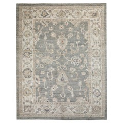 Beige and Brown Contemporary Handmade Wool Turkish Oushak Rug
