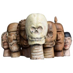 Early 20th Century German Folk-Art Carved Wooden Puppet Heads