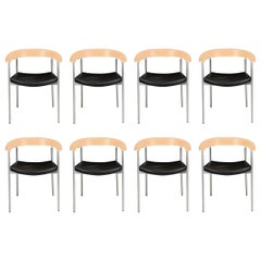 1990s Set of Eight Johannes Foersom Armchairs in Steel and Beech by Paustian