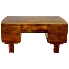 French Art Deco Desk Made of Walnut Wood Brass Handles