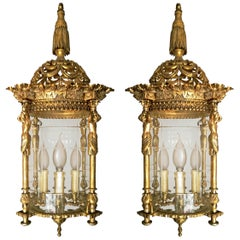 Pair French Empire Caryatids Gilded Bronze Cut Glass 4-Light Lantern Chandelier