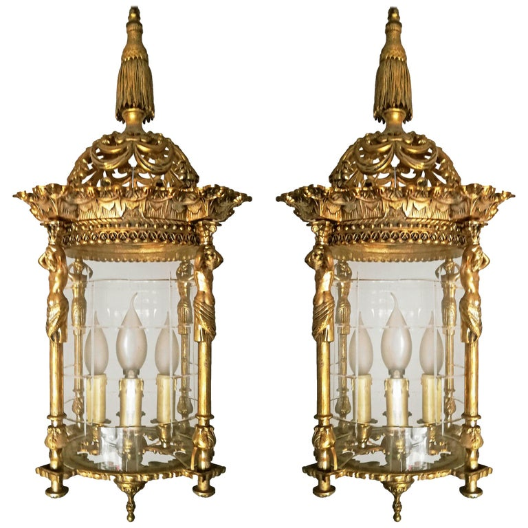 Pair French Empire Caryatids Gilded Bronze Cut Glass 4-Light Lantern Chandelier For Sale