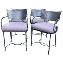 4 Midcentury Brushed Metal Modernist Garden Armchairs