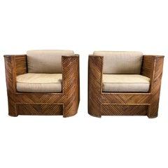 Midcentury Gabriella Crespi Style Italian Bamboo Club Chairs