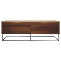 Handcrafted Classic Modern Credenza of Natural White Oak, Walnut, and Steel Base