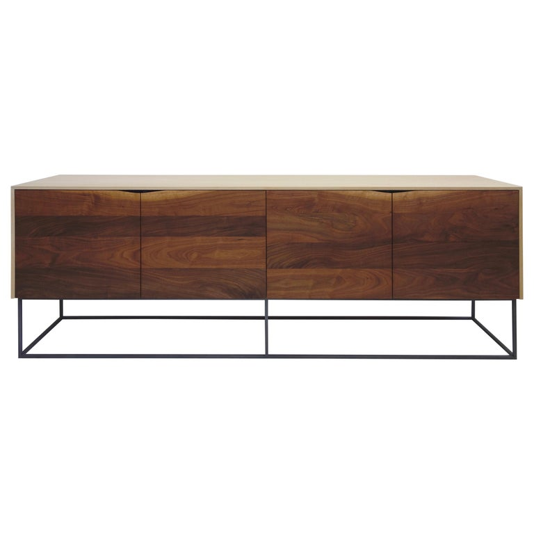 Handcrafted Classic Modern Credenza of Natural White Oak, Walnut, and Steel Base For Sale