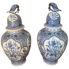 20th Century Large Antique Delft Style Pair of White and Blue Vases, 1920s