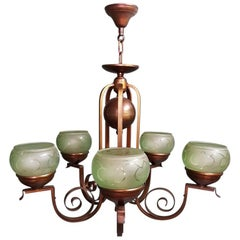 1930s Dutch Art Deco Bronze Colored Chandelier with Green Glass Lampshades