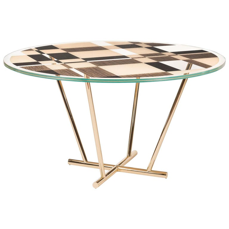 Round Table UnNatural Collection Piet, Glass and Galvanized Metal, Italy For Sale