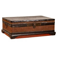 Chinese 1900s Wooden Treasure Chest with Rattan Accents and Dark Brass Hardware