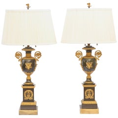 Pair of Early 19th Century Patinated Bronze and Ormolu Urn Lamps