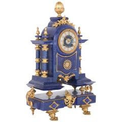 Antique Neoclassical Style Lapis Lazuli and Gilt Metal Clock