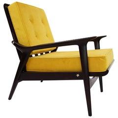Italian Midcentury Recliner Armchair Reupholstered, 1950s