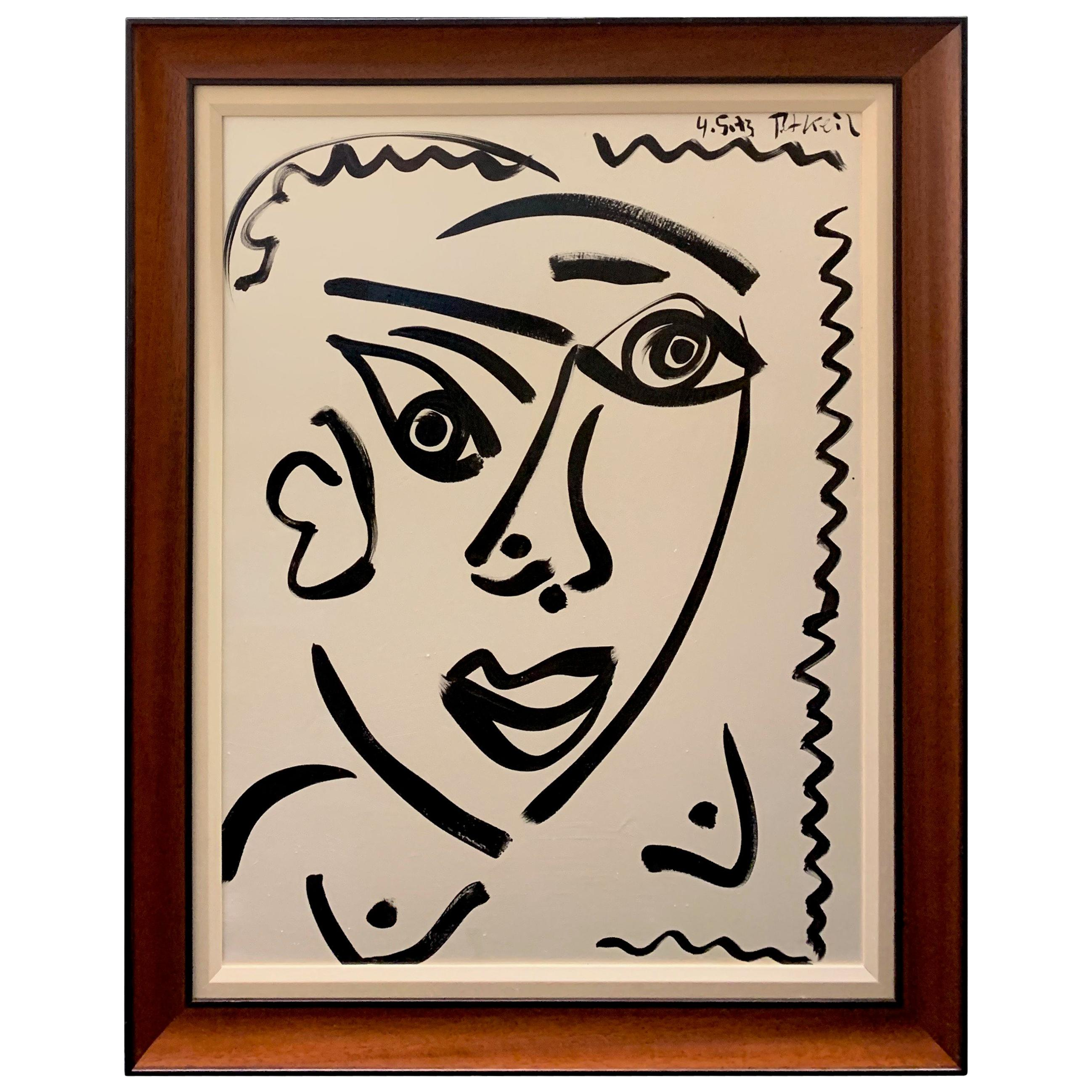 Peter Keil Framed Expressionist Oil on Board Portrait Painting