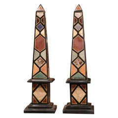 Pair of Vintage Italian Carved Empire Grand Tour Marble Obelisks on Square Bases