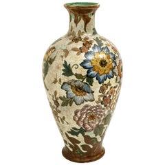"Large Gouda Royal Vase Signed ( 21,2""), Hand Painted, Holland, 1930"