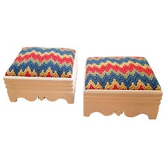 1860s Victorian Footstools with Colorful Handmade Needlework Covers