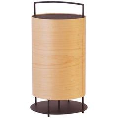 Maple Wood Veneer Lantern #5 with Blackened Metal Frame