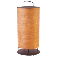 Cherry Wood Veneer Lantern #6 with Blackened Metal Frame