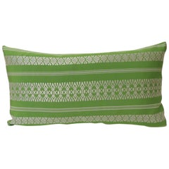 Vintage Acid Green Woven Silk Asian Decorative Lumbar Pillow
