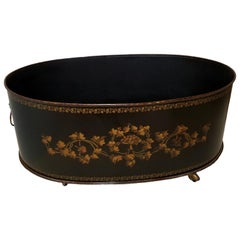 Grand Scale English Regency Oval Tole Planter with Lion Ring Handles on Castors