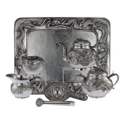 Antique Japanese Solid Silver Dragon Tea Service on Tray, Shokosha, circa 1900