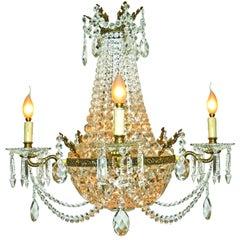 French Louis XVI Regency Empire Cut Crystal & Bronze 10-Light Basket Chandelier