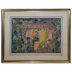 "1970s Vintage Gloria Vanderbilt ""House"" Signed Lithograph Print"