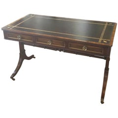 20th Century Regency Beacon Hill Mahogany and Rosewood Leather Top Writing Desk