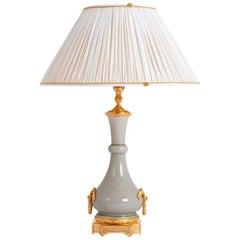 Louis XVI Style Lamp in Cracked Grey Porcelain, circa 1880