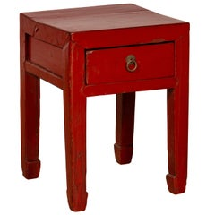 Chinese Early 20th Century Red Lacquer Stool with Drawer and Horse-Hoof Legs