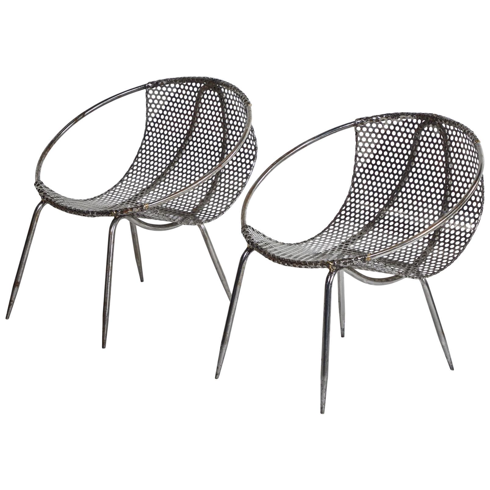 Etonnant Pair Of Metal Tub Chairs